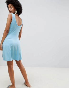 photo Twist Front Skater Dress by ASOS DESIGN, color Sky Blue - Image 2