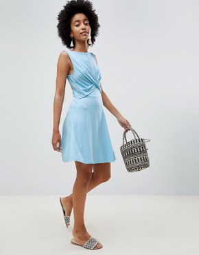 photo Twist Front Skater Dress by ASOS DESIGN, color Sky Blue - Image 1