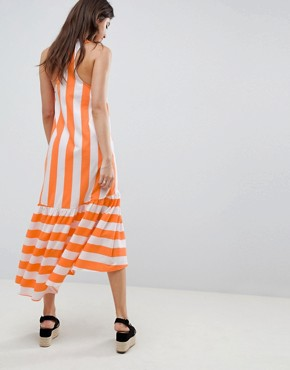 photo Maxi Dress with Racer Back and Hi Lo Pep Hem in Deckchair Stripe by ASOS, color Orange Deckchair - Image 2