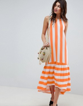 photo Maxi Dress with Racer Back and Hi Lo Pep Hem in Deckchair Stripe by ASOS, color Orange Deckchair - Image 1