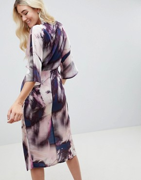 photo Knot Front Kimono Midi Dress in Abstract Print by ASOS DESIGN, color Abstract Print - Image 2