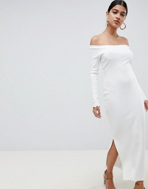 photo Off Shoulder Rib Midi Dress with Tie Back by ASOS DESIGN, color Ivory - Image 2