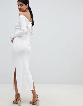 photo Off Shoulder Rib Midi Dress with Tie Back by ASOS DESIGN, color Ivory - Image 1