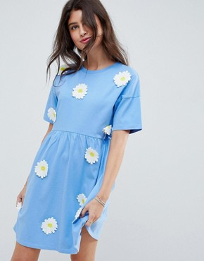 photo Smock Dress with Daisy Appliques by ASOS DESIGN, color Baby Blue - Image 1
