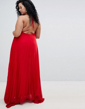 photo Pleated Maxi Dress by Missguided Plus, color Red - Image 2