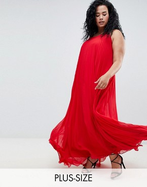photo Pleated Maxi Dress by Missguided Plus, color Red - Image 1