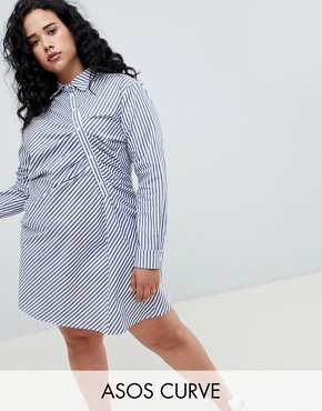 photo Shirt Dress in Stripe by ASOS WHITE CURVE, color Multi - Image 1