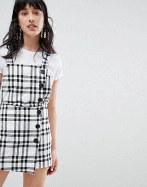 photo Check Print Dungaree Dress by Stradivarius, color Multi - Image 1