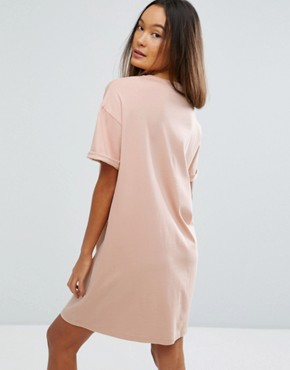 photo t-shirt Dress with Rolled Sleeves by ASOS DESIGN Ultimate, color Nude - Image 2