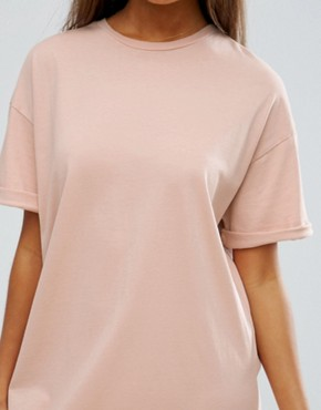photo t-shirt Dress with Rolled Sleeves by ASOS DESIGN Ultimate, color Nude - Image 3
