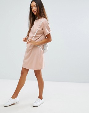 photo t-shirt Dress with Rolled Sleeves by ASOS DESIGN Ultimate, color Nude - Image 4