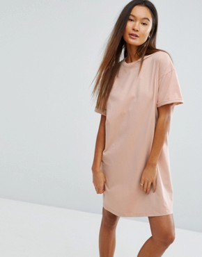 photo t-shirt Dress with Rolled Sleeves by ASOS DESIGN Ultimate, color Nude - Image 1