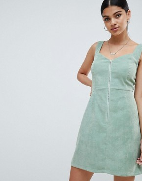 photo Cord Zip Detail Mini Dress by Missguided, color Green - Image 1