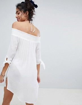 photo Shirred Bardot Beach Dress by New Look, color White - Image 2
