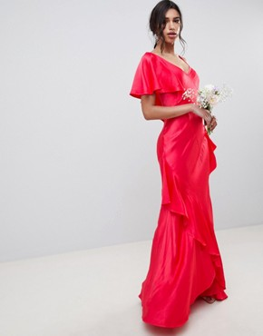 photo Bridesmaid Maxi Dress with Shoulder Detail by Ghost, color Crimson - Image 1