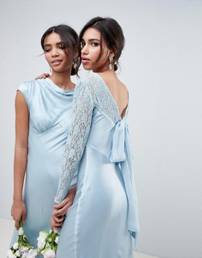 photo Bridesmaid Maxi Dress with Lace Sleeves by Ghost, color Sky Light - Image 2