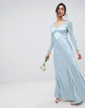 photo Bridesmaid Maxi Dress with Lace Sleeves by Ghost, color Sky Light - Image 1