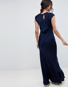 photo Bridesmaid Capped Sleeve Maxi Dress with Keyhole Detail by Ghost, color Navy - Image 2