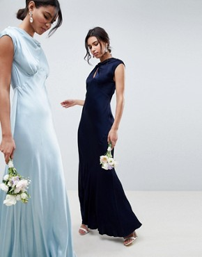 photo Bridesmaid Capped Sleeve Maxi Dress with Keyhole Detail by Ghost, color Navy - Image 1
