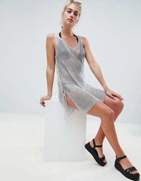photo Metallic Beach Dress by New Look, color Silver - Image 4