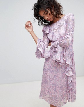 photo Long Sleeve Printed Midi Dress by Ghost, color Salma Floral Repeat - Image 1