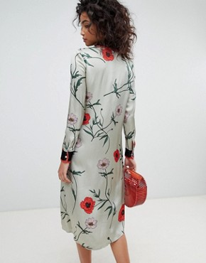 photo Long Sleeve Shirt Dress in Floral Print by Ghost, color Poppy Trailing - Image 2