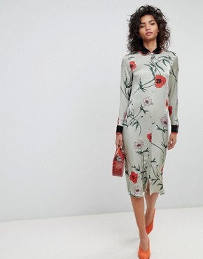 photo Long Sleeve Shirt Dress in Floral Print by Ghost, color Poppy Trailing - Image 1