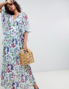 photo Kimono Sleeve Printed Maxi Dress by Ghost, color Sally Bloom - Image 1