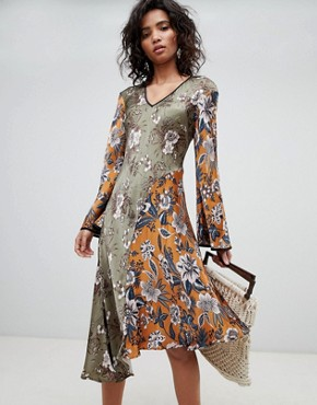 photo Mixed Print Long Sleeve Midi Dress by Ghost, color Ruth Flower - Image 1