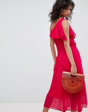 photo One Shoulder Midi Dress by Ghost, color Fuchsia - Image 2