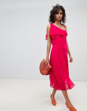 photo One Shoulder Midi Dress by Ghost, color Fuchsia - Image 1