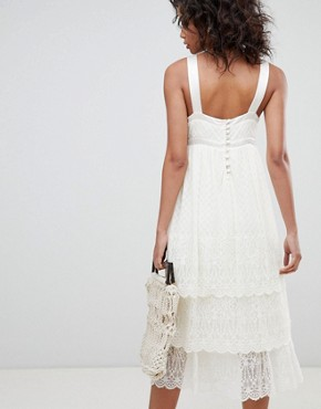 photo Pretty Lace Cami Dress by Ghost, color Ivory - Image 2