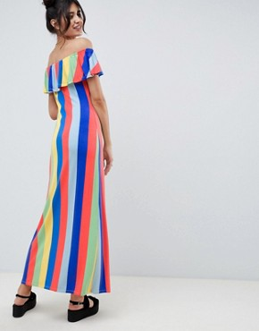 photo Off Shoulder Button Through Maxi Sundress in Stripe by ASOS DESIGN, color Rainbow Stripe - Image 2