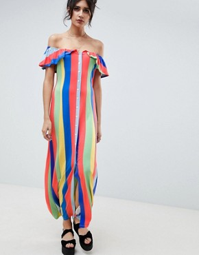 photo Off Shoulder Button Through Maxi Sundress in Stripe by ASOS DESIGN, color Rainbow Stripe - Image 1