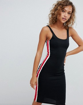 photo Side Stripe Detail Bodycon Dress in Black by Pull&Bear, color Black - Image 2