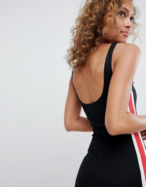 photo Side Stripe Detail Bodycon Dress in Black by Pull&Bear, color Black - Image 1
