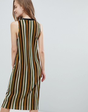 photo Stripe High Neck Midi Dress in Multi by Pull&Bear, color Purple - Image 2
