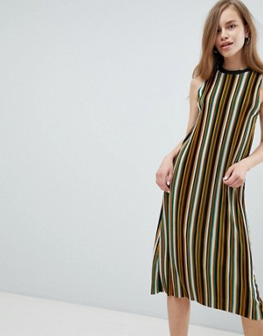 photo Stripe High Neck Midi Dress in Multi by Pull&Bear, color Purple - Image 1