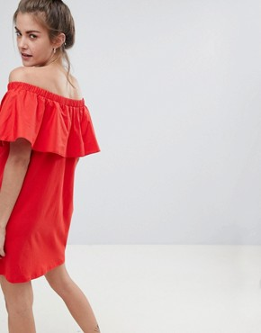 photo Off the Shoulder Bardot Dress in Red by Pull&Bear, color Red - Image 2
