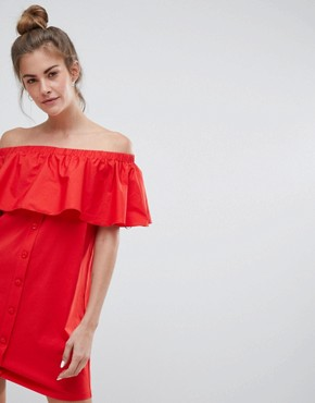 photo Off the Shoulder Bardot Dress in Red by Pull&Bear, color Red - Image 1