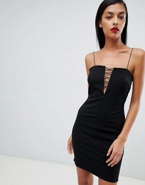 photo Cut Out Trim Mini Dress by ASOS DESIGN, color Black - Image 1
