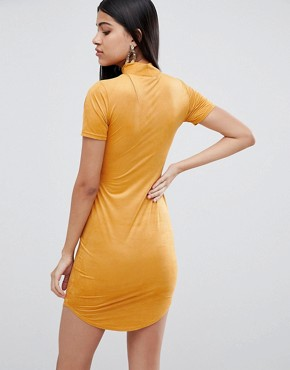 photo Suedette High Neck Bodycon Dress in Yellow by Lasula, color Yellow - Image 2