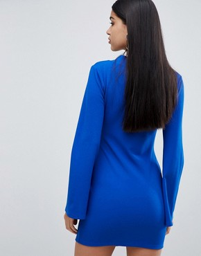 photo Wrapover Mini Dress with Ring Belt Detail in Cobalt by Lasula, color Cobalt - Image 2