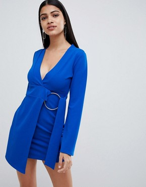 photo Wrapover Mini Dress with Ring Belt Detail in Cobalt by Lasula, color Cobalt - Image 1