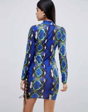 photo Bodycon Dress with Lace up Detail in Snake Print by Lasula, color Blue Snake - Image 2