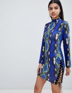 photo Bodycon Dress with Lace up Detail in Snake Print by Lasula, color Blue Snake - Image 1