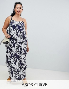 photo Tab Back Drape Hareem Maxi Dress in Navy Palm Print by ASOS DESIGN Curve, color Multi - Image 1