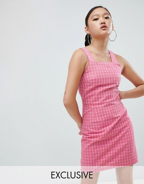 photo Pinafore Dress in Check by Daisy Street, color Pink Check - Image 1