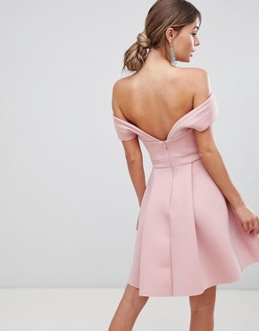 photo Bardot Cold Shoulder Mini Prom Dress by ASOS, color Blush - Image 2