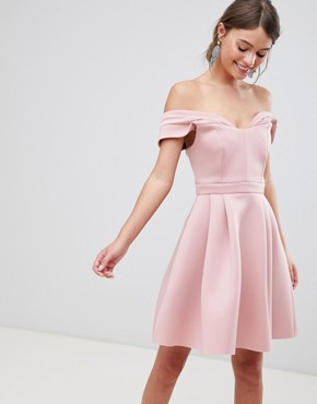 photo Bardot Cold Shoulder Mini Prom Dress by ASOS, color Blush - Image 1